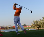 Rickie Fowler of the United States tees off at the 18th hole during the Abu Dhabi Golf Championship in Abu Dhabi, United Arab Emirates, Sunday, Jan. 24, 2016.  (AP Photo/Martin Dokoupil)