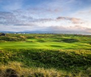 Behind 9th hole with 18th green in background, Machrihanish Dunes Golf Club