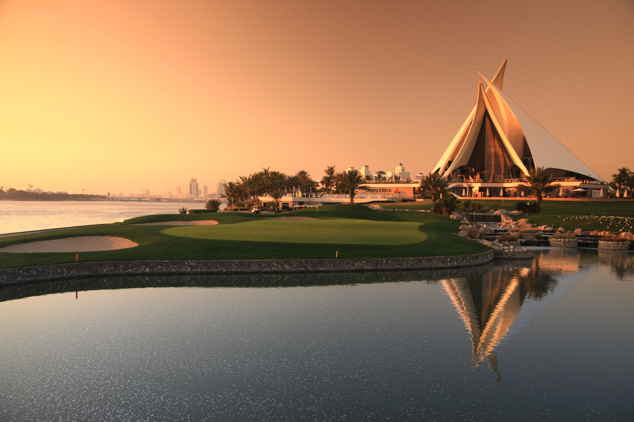 DUBAI - JANUARY 31:  The green on the par 4, 18th hole and the clubhouse at the Dubai Creek Golf and Yacht Club on January 31, 2009 in Dubai, United Arab Emirates.  (Photo by David Cannon/Getty Images)